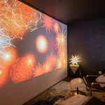 projection of mandalas on a screen